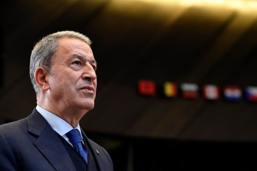 Turkish Defence minister Hulusi Akar in Brussels on 24 October 2019 [JOHN THYS/AFP/Getty Images]