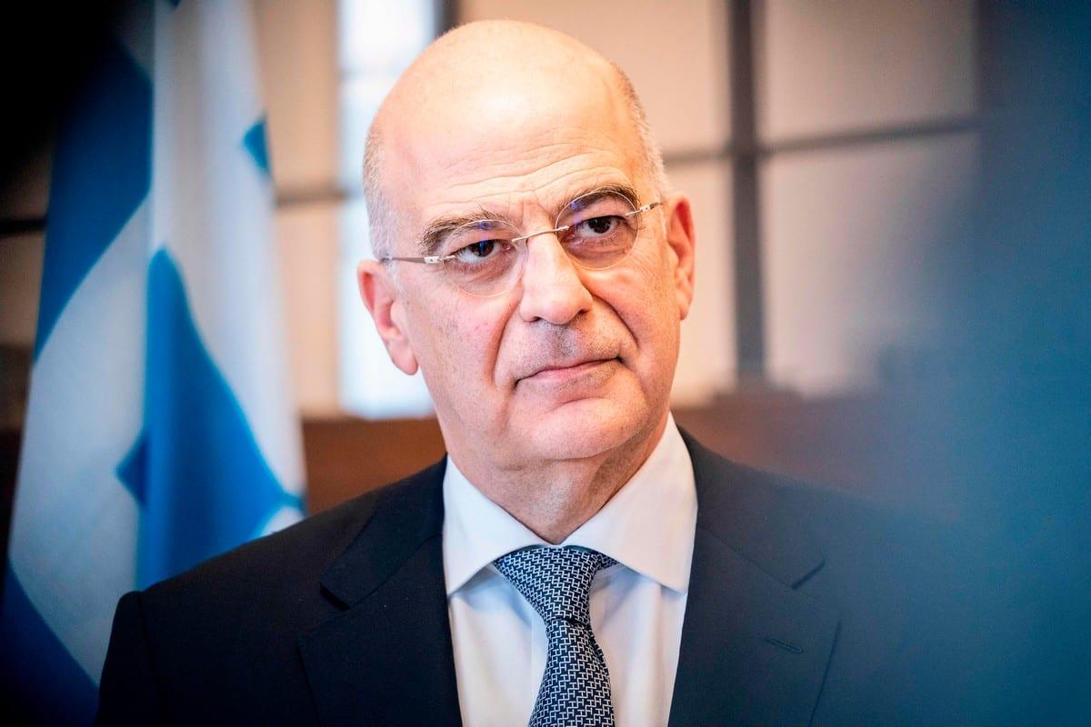 Greece's Foreign Minister Nikos Dendias in Denmark on 21 February 2020 [IDA MARIE ODGAARD/Ritzau Scanpix/AFP/Getty Images]