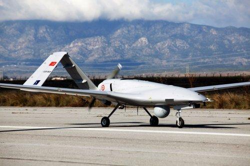 Turkey's Bayraktar TB2 drone at Gecitkale Airport [BIROL BEBEK/AFP/Getty Images]