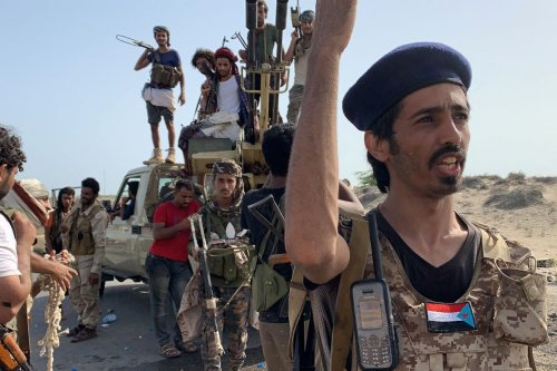 Fighters loyal to Yemen's Southern Transitional Council (STC) separatists in Yemen on 16 May 2020 [NABIL HASAN/AFP/Getty Images]