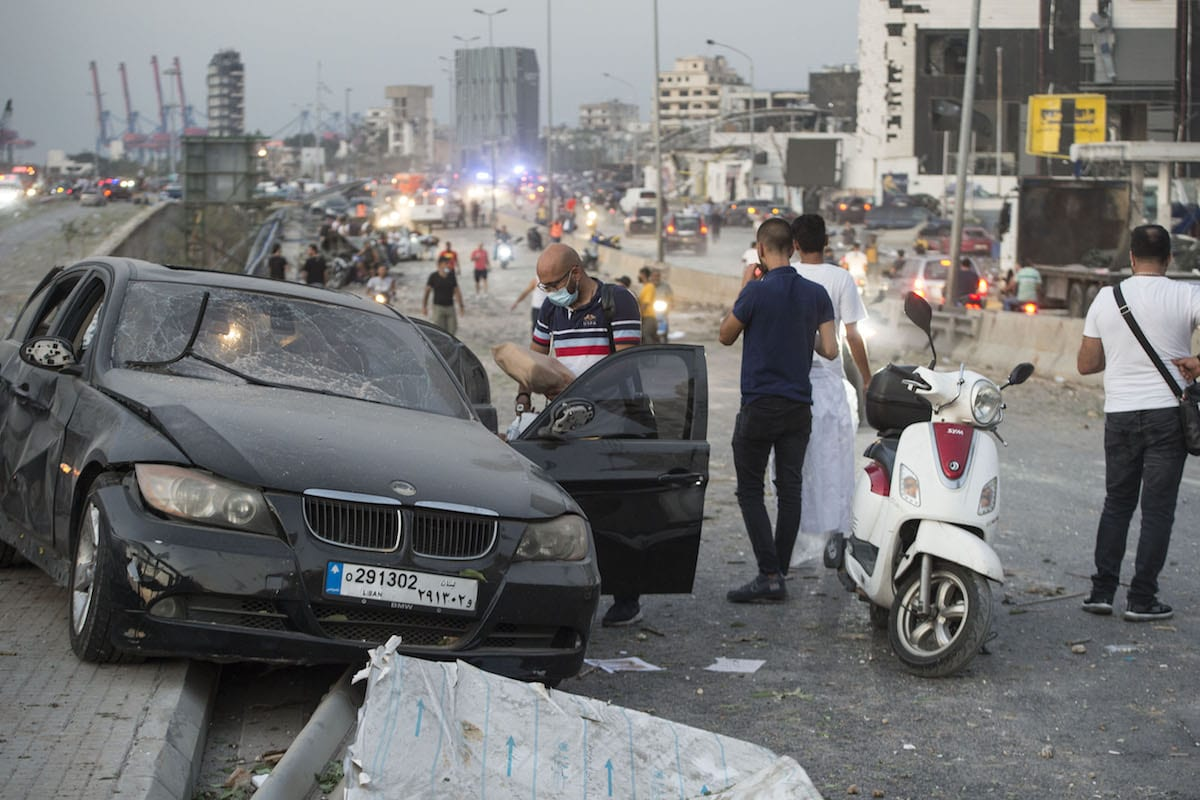 A damaged car is seen after a fire at a warehouse with explosives at the Port of Beirut led to massive blasts in Beirut, Lebanon on August 4, 2020 [Houssam Shbaro/Anadolu Agency]