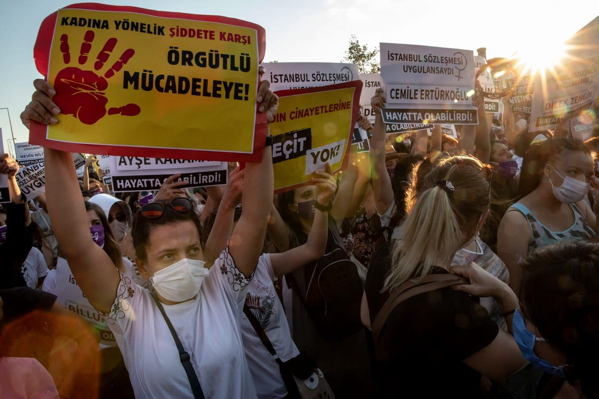 Women during a demonstration for the prevention of violence against women in Istanbul, Turkey on 5 August 2020 [Chris McGrath/Getty Images]