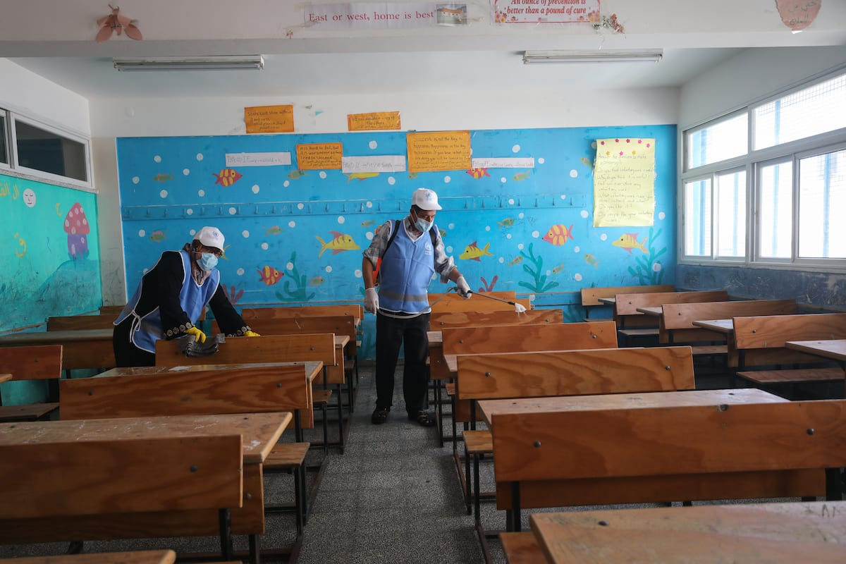 "UNRWA started sterilizing its schools inside the Gaza Strip, in preparation for the start of the new school year. Anadolu Agency correspondent reported that ""UNRWA"" resumed, on Wednesday, the administrative time in all its schools and education departments, provided that school hours begin next Saturday morning on 5 August 2020 [Ali Jadallah/Anadolu Agency]"