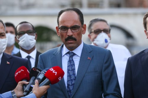Turkish Presidential Spokesperson Ibrahim Kalin speaks to press members after his visit to Hagia Sophia Grand Mosque with ambassadors served in Turkey on 6 August 2020 in Istanbul, Turkey. [İslam Yakut - Anadolu Agency]