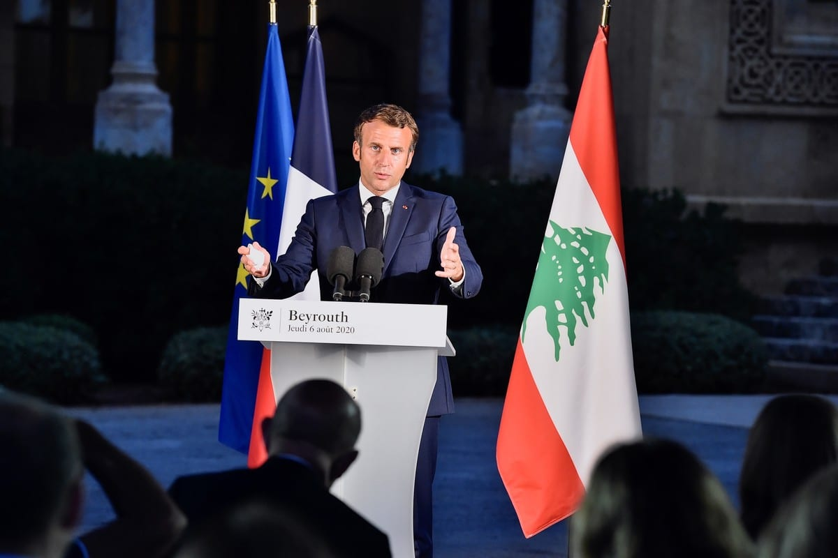 French President Emmanuel Macron at the Official residence of the French Embassy building in Beirut, Lebanon on August 06, 2020 [Lebanese Presidency/Handout/Anadolu Agency]