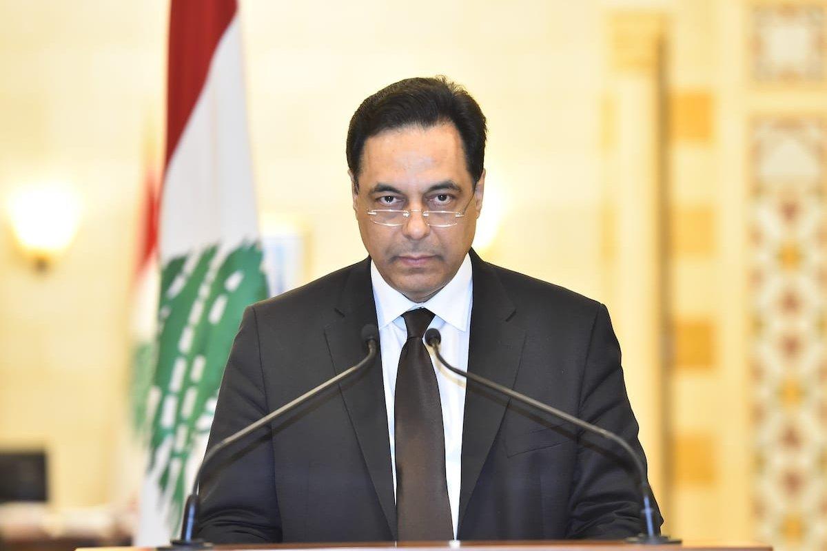 Lebanese Prime Minister Hassan Diab in the capital Beirut, Lebanon on 10 August 2020 [Lebanese Presidency/Anadolu Agency]