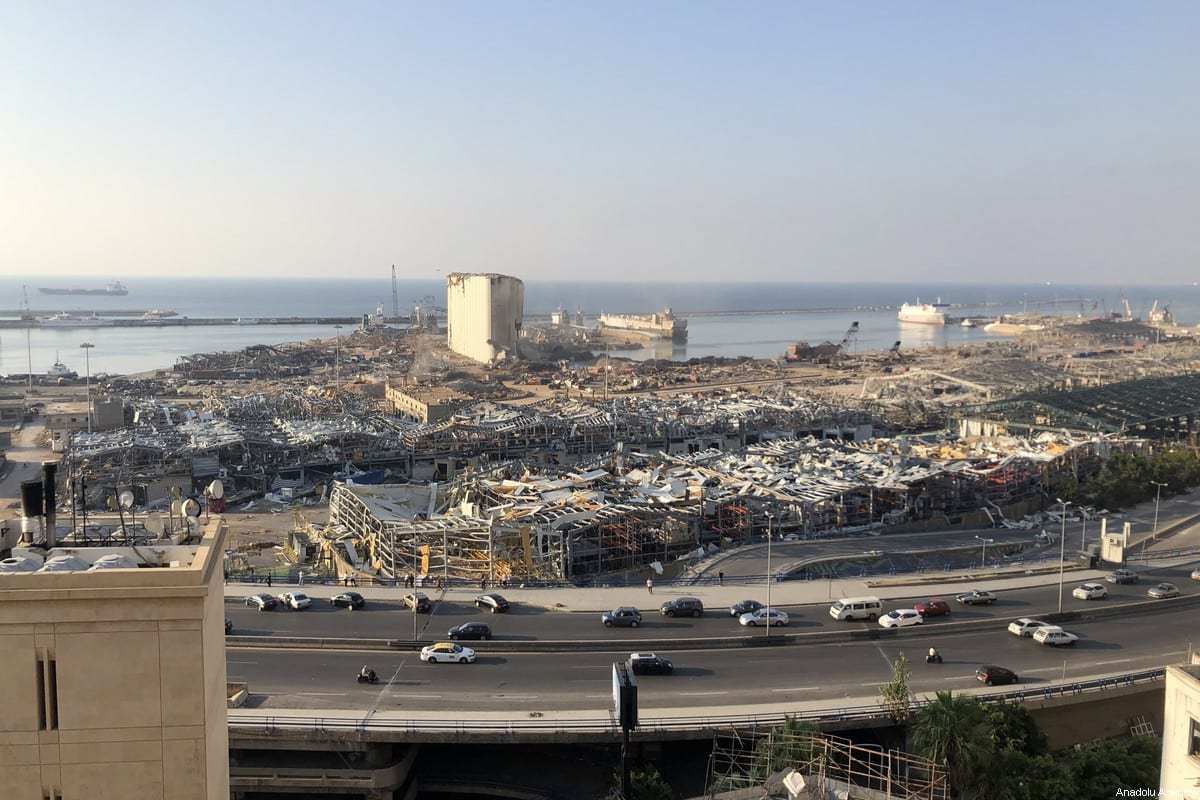 A view of the Port of Beirut after a fire at a warehouse with explosives led to massive blasts on 4th August in Beirut, Lebanon on August 13, 2020. [Aysu Biçer - Anadolu Agency]
