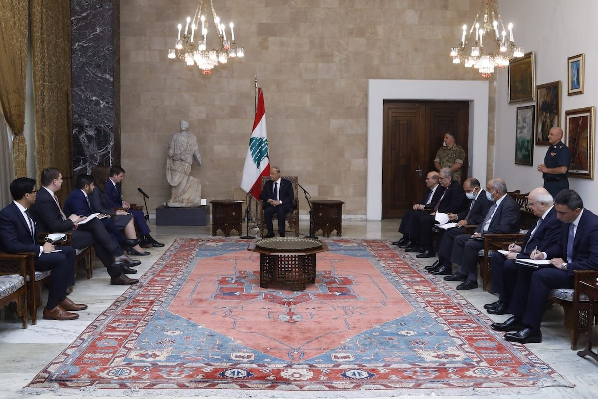 Lebanese President Michel Aoun (C) meets United States Under Secretary of State for Political Affairs David Hale (4th L) at the Baabda Palace in Beirut, Lebanon on 14 August 2020. [Lebanese Presidency / Handout - Anadolu Agency]