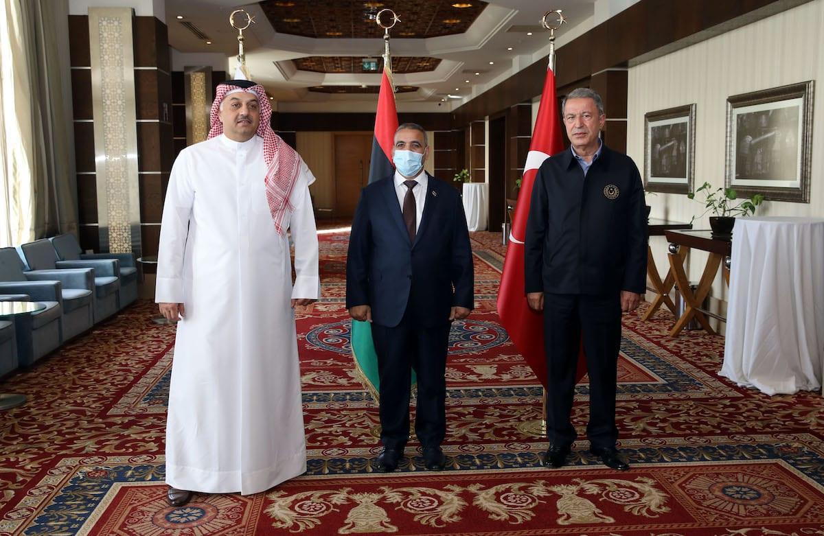 Turkish National Defense Minister Hulusi Akar (R) meets with Qatari Defense Minister Khalid Bin Mohammed al-Attiyah (L) and President of the Libyan Supreme Council of State Khalid Al-Mishri (C) in Tripoli, Libya on 17 August 2020. [Arif Akdoğan - Anadolu Agency]