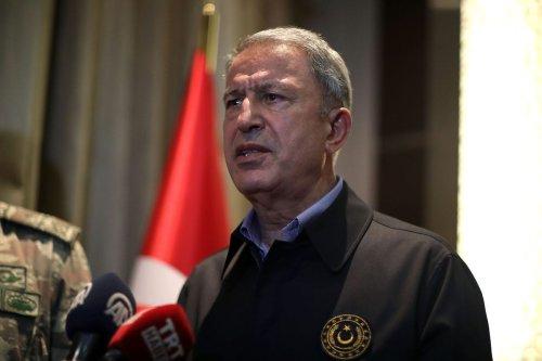 Turkish National Defense Minister Hulusi Akar speaks to media in Tripoli, Libya on 18 August 2020. [Arif Akdoğan - Anadolu Agency]