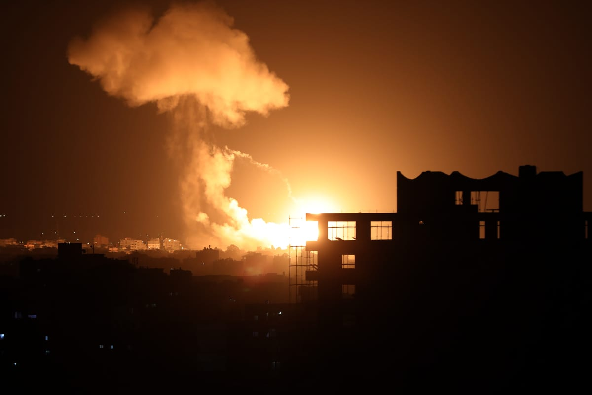 Smoke and flames rise after warplanes belonging to Israeli army carried out airstrikes over Al-Zaytun neighborhood of Gaza City, Gaza on August 18, 2020 [Ali Jadallah/Anadolu Agency]