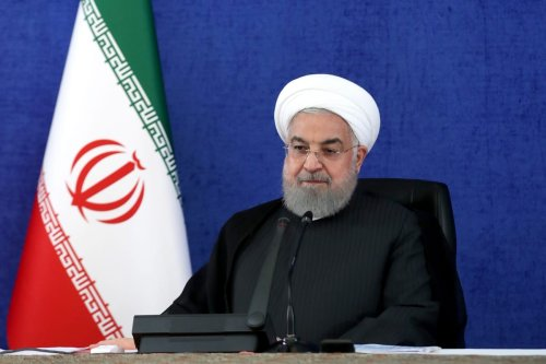 Iranian President Hassan Rouhani attends a ceremony held due to National Defense Industry Day via video conference in Tehran, Iran on August 30, 2020 [Iranian Presidency / Handout - Anadolu Agency]