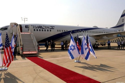 An Israeli delegation led by National Security Advisor Meir Ben-Shabbat, and US National Security Advisor Robert O'Brien and U.S. President Trump's senior adviser Jared Kushner board the Israeli flag carrier El Al's airliner as they fly to Abu Dhabi for talks meant to put final touches on the normalisation deal between the UAE and Israel, at Ben Gurion International Airport in Tel Aviv, Israel on August 31, 2020. [Israel Airports / Sivan Farag - Anadolu Agency]