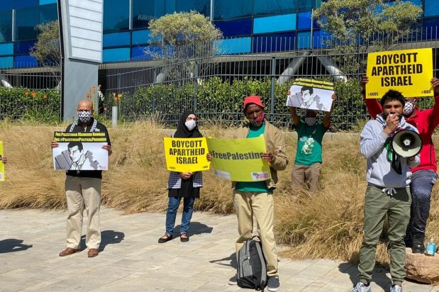 Protest outside the Israeli Embassy in South Africa on 14 August 2020 [BDS South Africa]