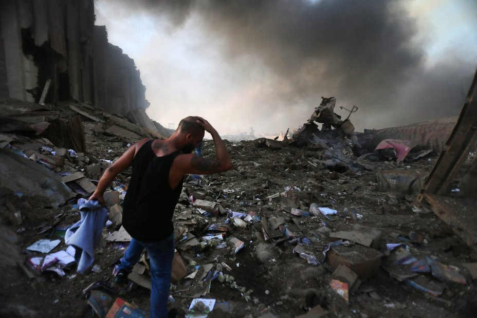Dazed, weeping and injured people walked through streets searching for relatives in Beirut, Lebanon on 4 August, 2020 [Twitter]