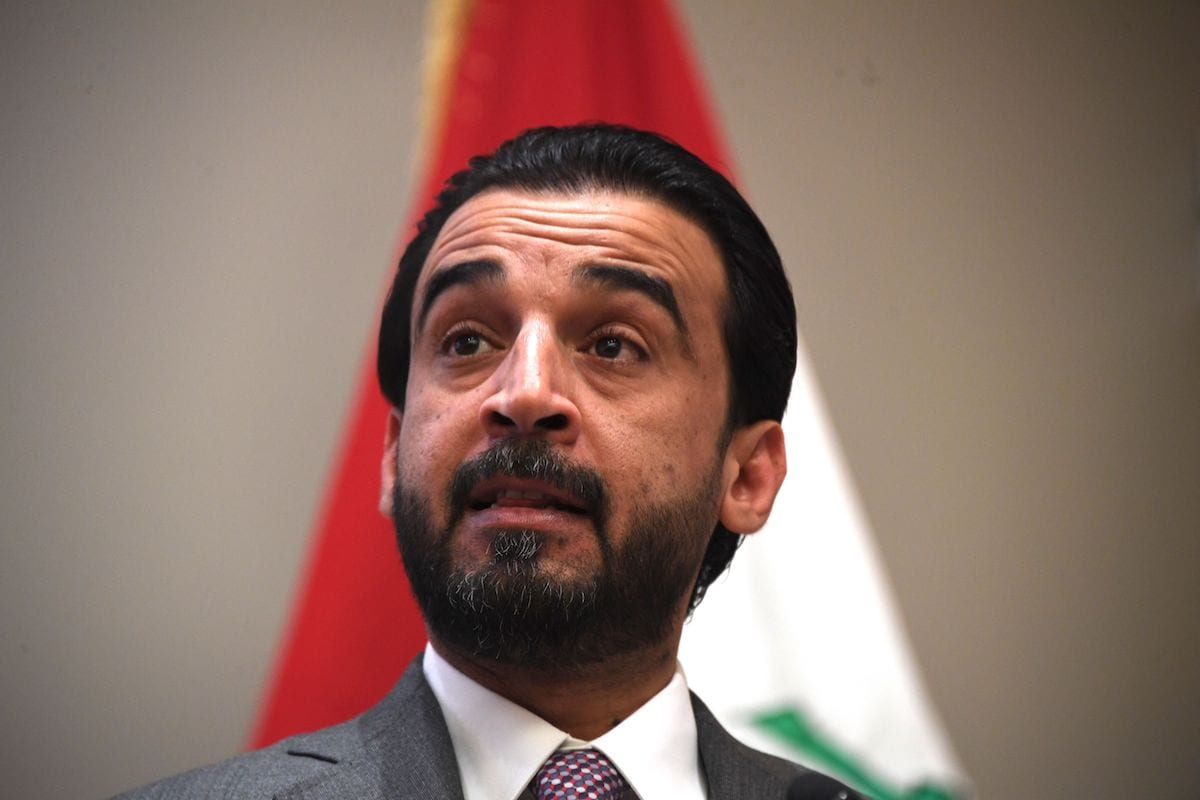 Iraq Council of Representatives Speaker Mohammed al-Halbousi speaks at the United States Institute of Peace (USIP) in Washington, DC, on 29 March 2019. [JIM WATSON/AFP via Getty Images]