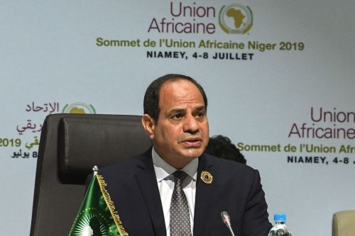 Egyptian President and African Union (AU) chairman Abdel Fattah Al-Sissi speaks during the closing ceremony of the African Union summit at the Palais des Congres in Niamey, on 8 July 2019. [ISSOUF SANOGO/AFP via Getty Images]