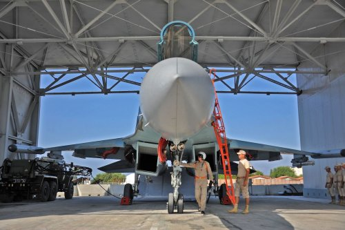 A Russian Sukhoi Su-35 fighter jet is prepared for take off at the Russian military base of Hmeimim, located south-east of the city of Latakia in Hmeimim, Latakia Governorate, Syria, on 26 September 2019. [MAXIME POPOV/AFP via Getty Images]