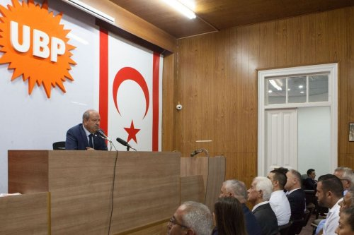 Turkish-Cypriot Prime Minister Ersin Tatar (L) speaks during a press conference in the northern side of the divided Cypriot capital Nicosia, in the self-proclaimed Turkish Republic of Northern Cyprus (TRNC), on 14 October 2019. [BIROL BEBEK/AFP via Getty Images]