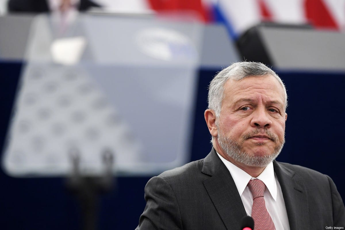 Jordanian King Abdullah II reacts as he delivers a speech at the European Parliament, on January 15, 2020, in Strasbourg, eastern France [FREDERICK FLORIN/AFP via Getty Images]