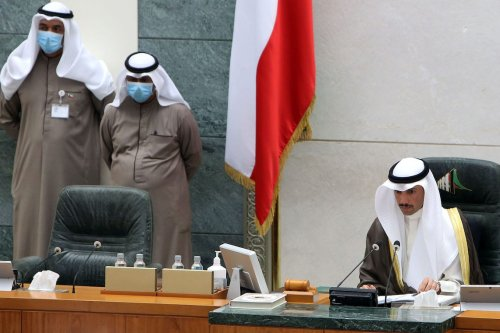 Kuwaiti parliament speaker Marzouq al-Ghanim chairs a parliament session at Kuwait's national assembly in Kuwait City on 24 March 2020. [YASSER AL-ZAYYAT/AFP via Getty Images]