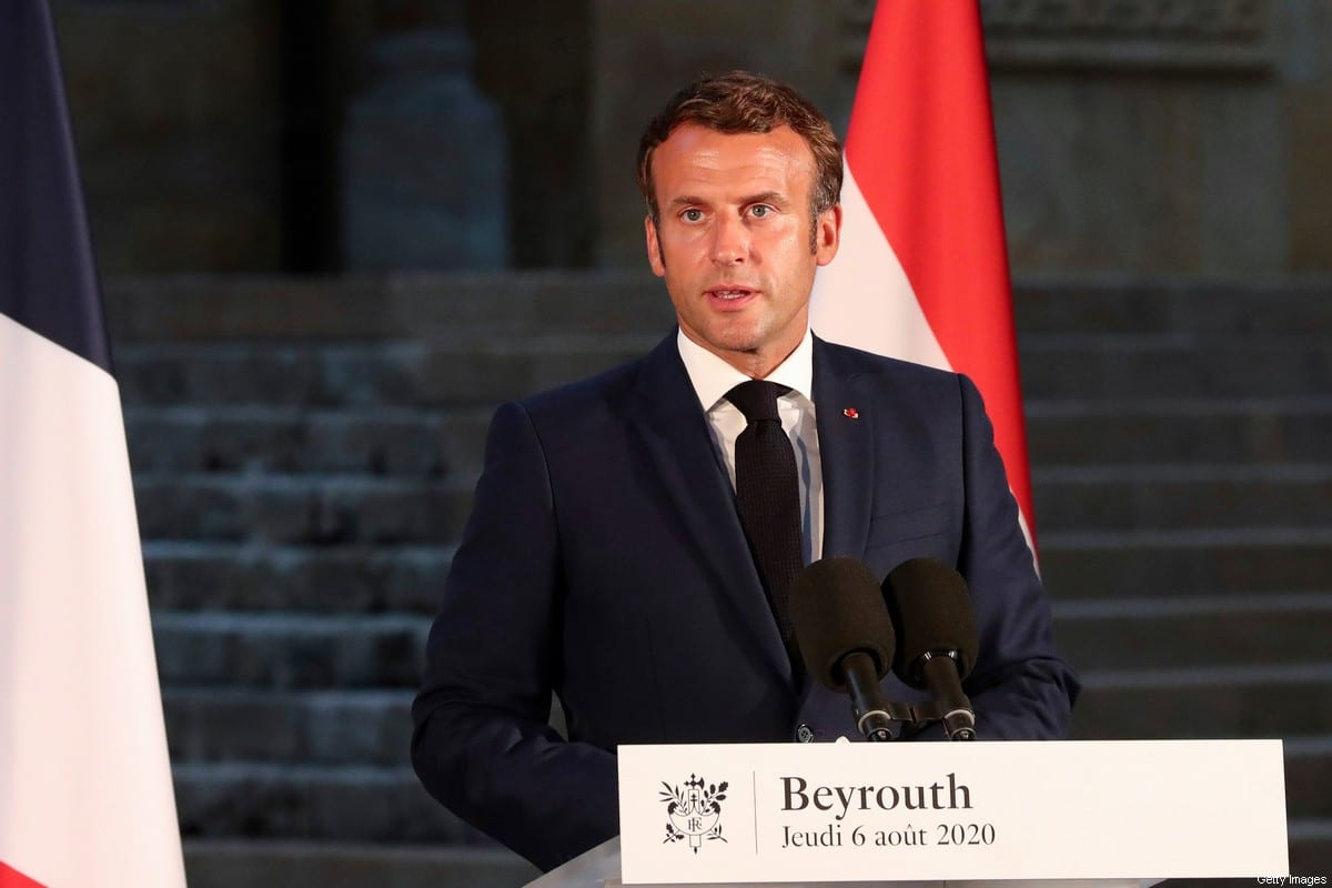 French President Emmanuel Macron in Beirut on 6 August 2020 [THIBAULT CAMUS/POOL/AFP/Getty Images]