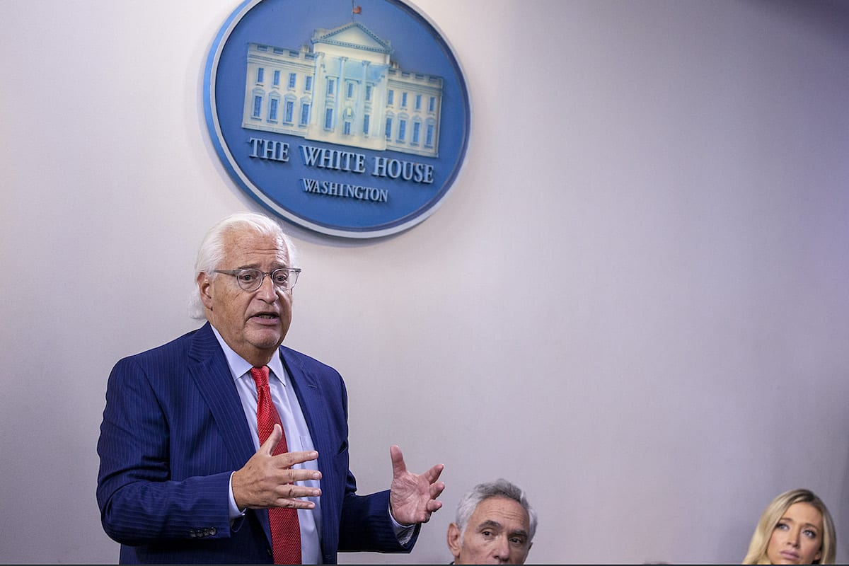 David Friedman, US Ambassador to Israel speaks during a briefing at the White House August 13, 2020 in Washington, DC. [Tasos Katopodis/Getty Images]