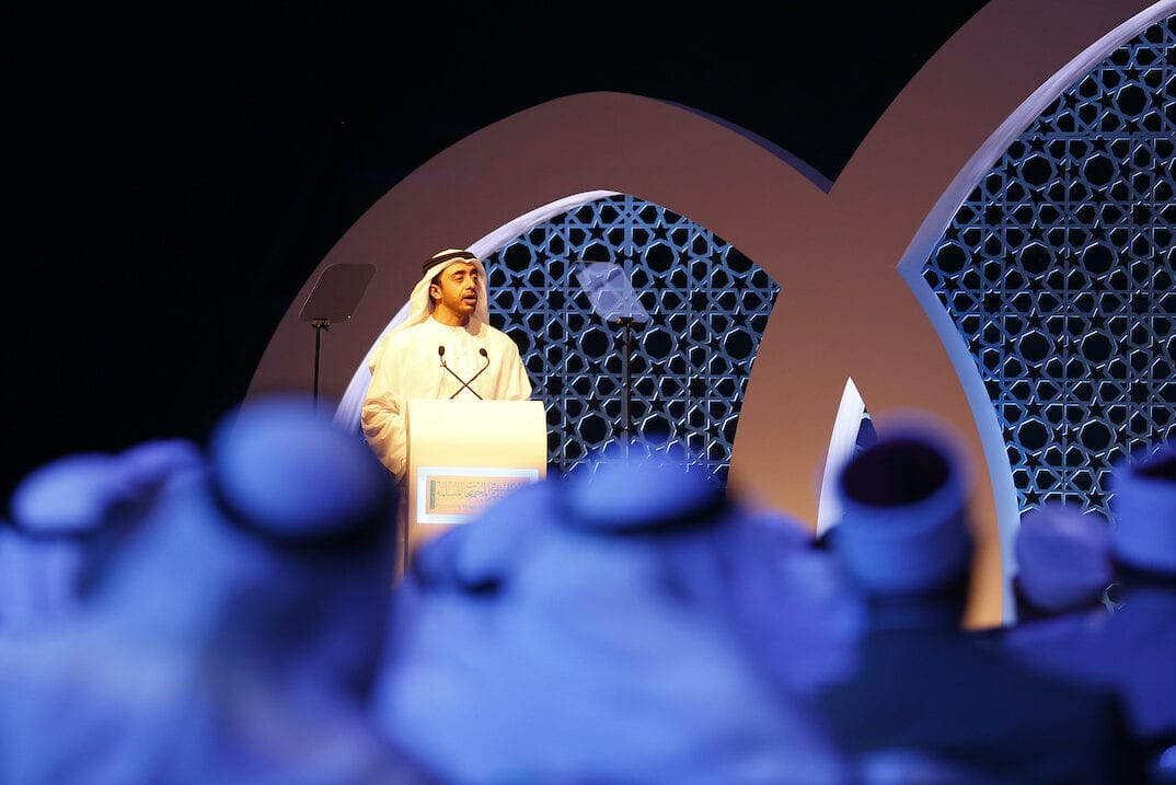 "The United Arab Emirates Minister of Foreign Affairs, Sheikh Abdullah bin Zayed al-Nahyan speaks during the opening session of a two-day forum entitled ""Promoting Peace in Muslim Societies"" on 9 March 2014 in Abu Dhabi. [KARIM SAHIB/AFP via Getty Images]"