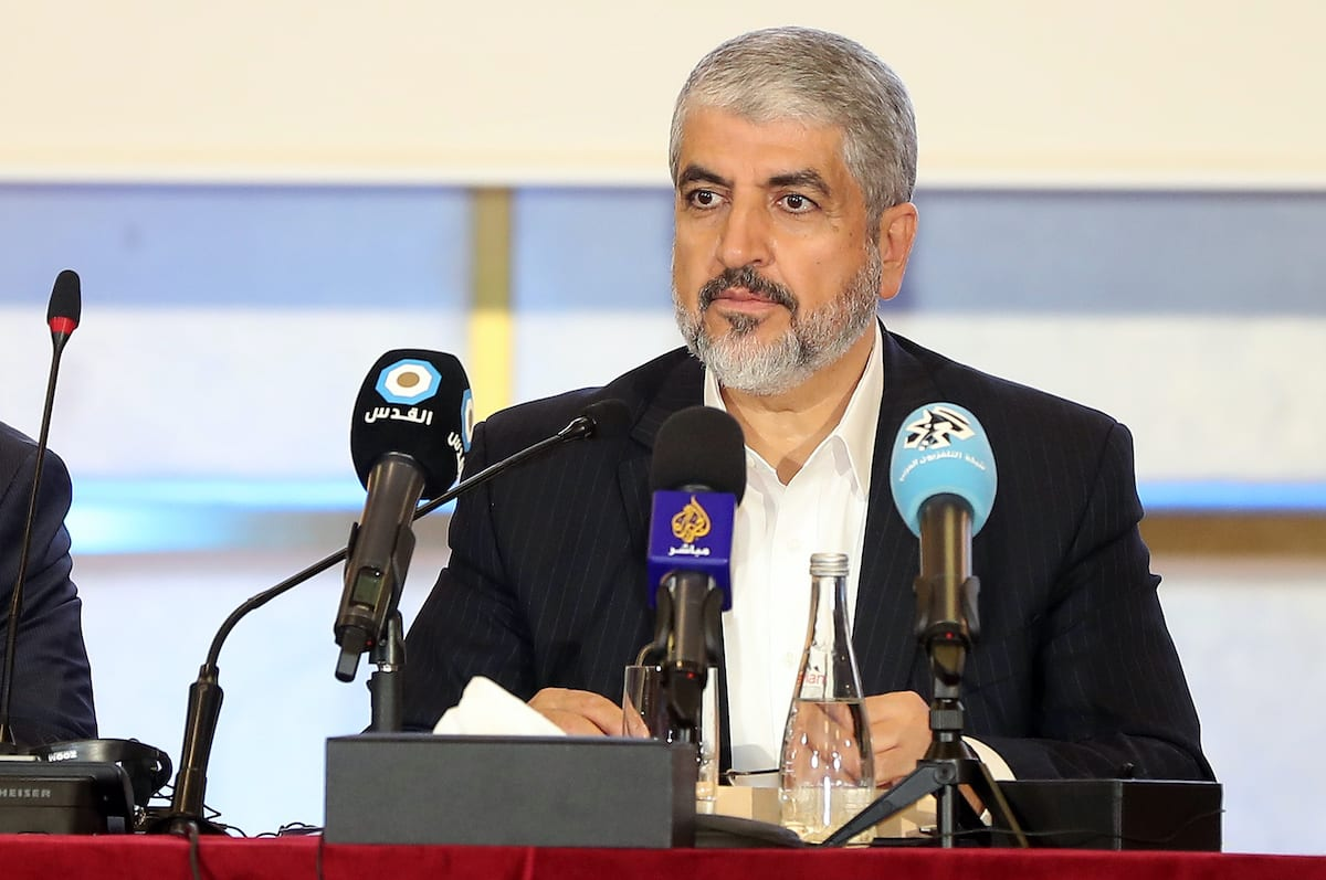 Exiled Chief of Hamas' Political Bureau Khaled Meshaal speaks during conference in the Qatari capital, Doha on 1 May 2017. [KARIM JAAFAR/AFP via Getty Images]