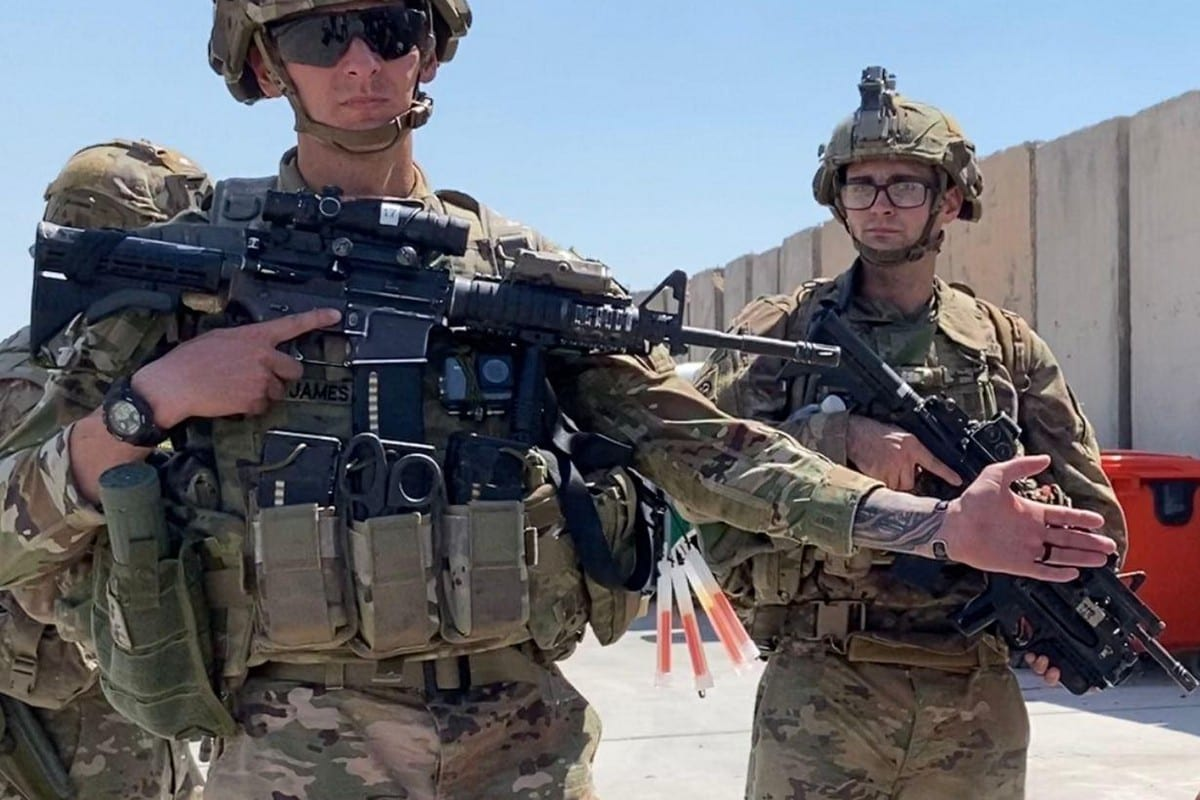 US soldiers at the Taji Military Base in Baghdad, Iraq on August 23, 2020 [Murtadha Al-Sudani/Anadolu Agency]