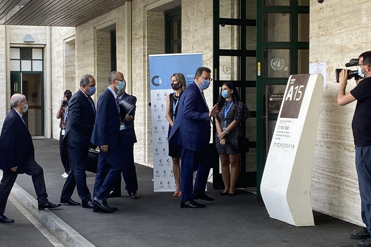 Delegations of Syrian Constitutional Committee arrive to meet for the third round of Constitutional reform talks after a nine-month, in Geneva, Switzerland on 24 August 2020. [Bayram Altuğ - Anadolu Agency]