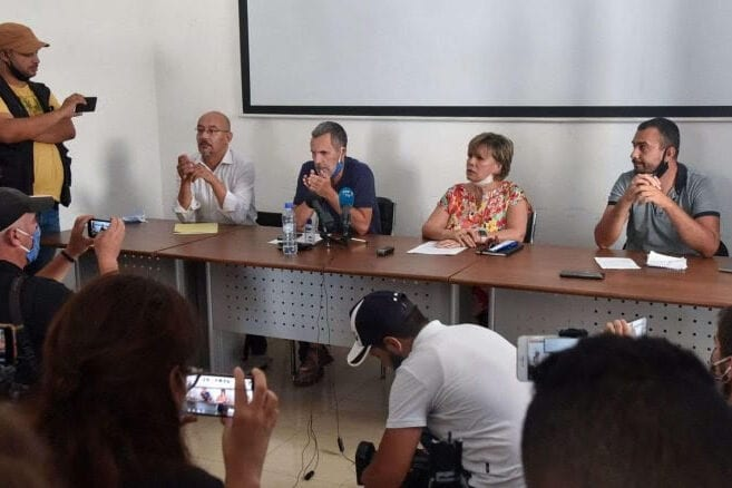 A photo from the press conference held by Drareni's lawyers in the Algerian capital