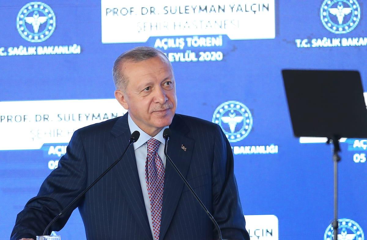 Turkish President Recep Tayyip Erdogan attends the opening ceremony of Prof. Dr. Suleyman Yalcin City Hospital in Istanbul, Turkey on 5 September 2020. [İsa Terli - Anadolu Agency]