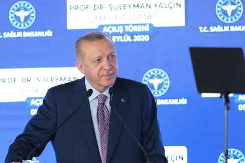 Turkish President Recep Tayyip Erdogan attends the opening ceremony of Prof. Dr. Suleyman Yalcin City Hospital in Istanbul, Turkey on 5 September 2020. [İsa Terli - Anadolu Agency]