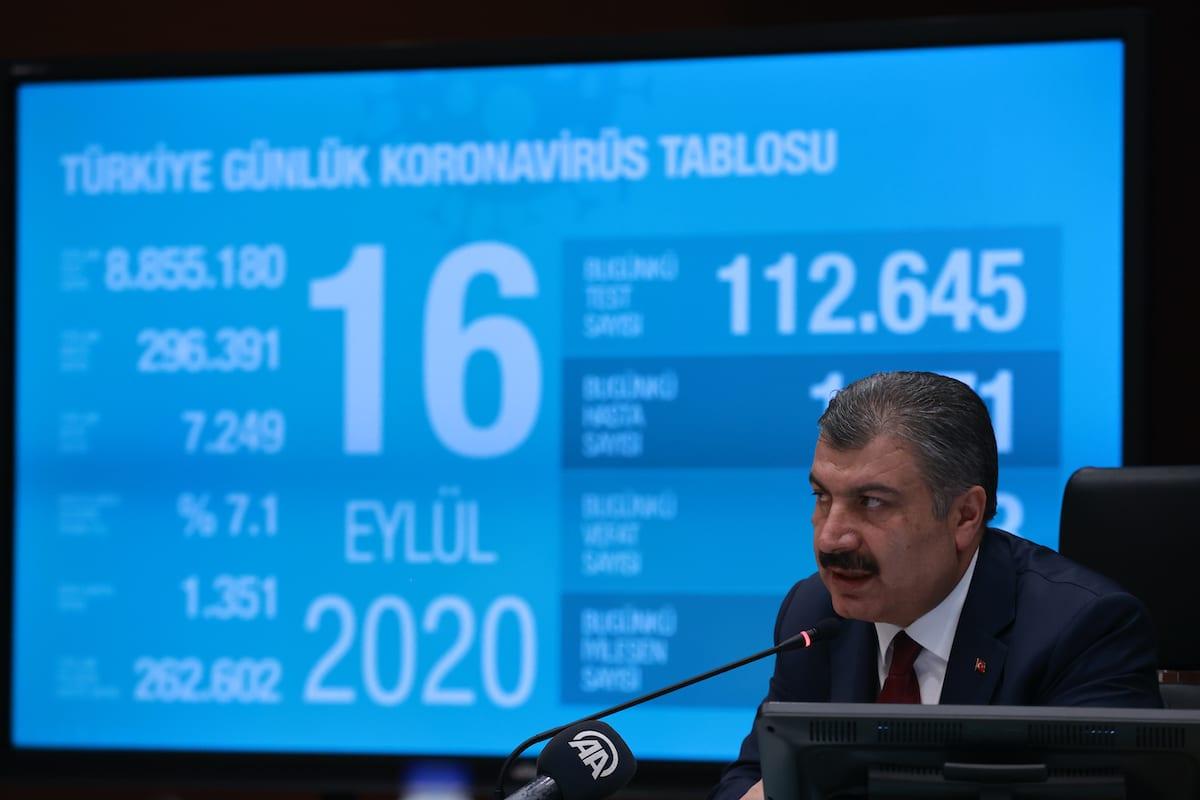 Turkish Health Minister Fahrettin Koca speaks to media after the Coronavirus Scientific Advisory Board in Ankara, Turkey on 16 September 2020. [Aytuğ Can Sencar - Anadolu Agency]
