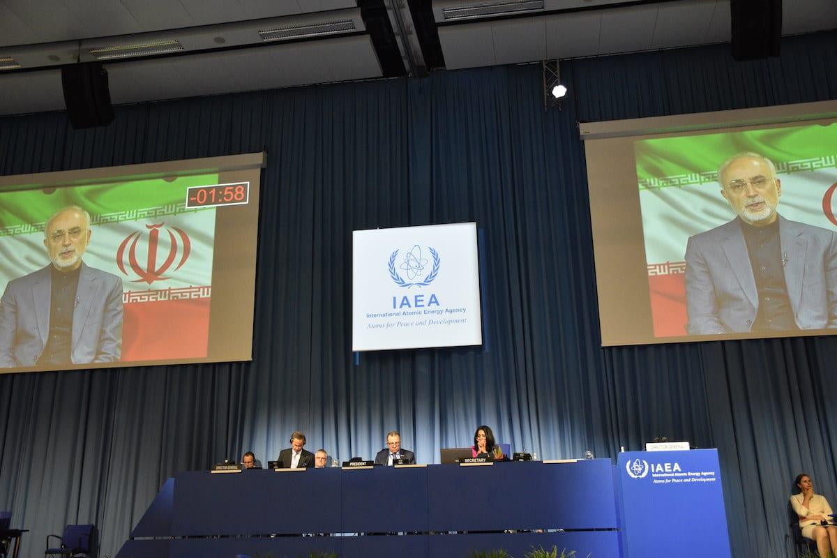 VIENNA, AUSTRIA - SEPTEMBER 21: Director General of the International Atomic Energy Agency (IAEA) Rafael Mariano Grossi (C-L) listens the Head of the Atomic Energy Organization of Iran, Ali Akbar Salehi, , who virtually attends the 64th General Conference of the IAEA at its headquarters in Vienna, Austria on September 21, 2020. ( Aşkın Kıyağan - Anadolu Agency )
