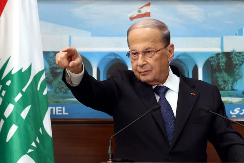 Lebanese President, Michel Aoun speaks on forming of a new government after the former government's resignation following the massive explosion in Beirut during a press conference at Baabda Presidential Palace in Beirut, Lebanon on 20 September 2020. [Lebanese Presidency / Handout - Anadolu Agency]