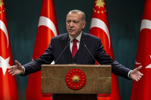President of Turkey, Recep Tayyip Erdogan gives a news conference after the cabinet meeting at the Presidential Complex in Ankara, Turkey on 21 September 2020. [Ali Balıkçı - Anadolu Agency]