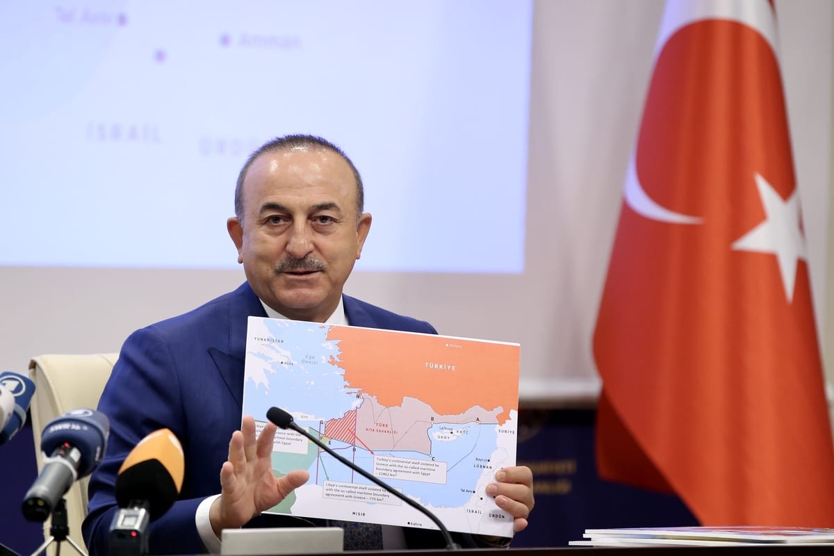 Foreign Minister of Turke Mevlut Cavusoglu meets foreign press members at Foreign Ministry in Ankara, Turkey on September 23, 2020 [Fatih Aktaş/Anadolu Agency]