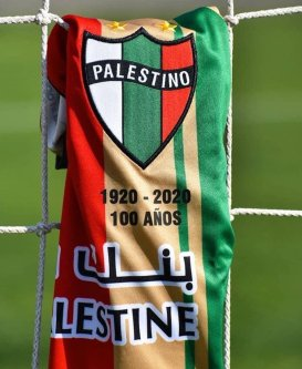 Football shirt belonging to the Club Deportivo Palestino in Chile, 22 September 2020