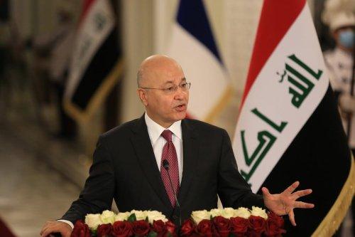 Iraqi President Barham Salih during a press conference in Baghdad, Iraq on September 02, 2020 [Murtadha Al-Sudani/Anadolu Agency]
