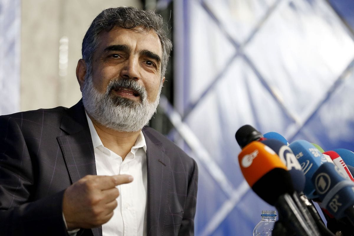 Spokesman of the Atomic Energy Organization of Iran (AEOI), Behrouz Kamalvandi answers the press in the capital Tehran on 17 July 2018. [ATTA KENARE/AFP via Getty Images]