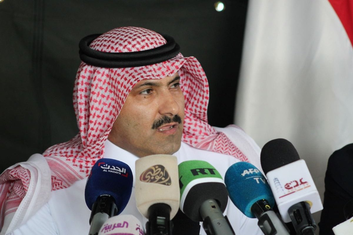 Saudi ambassador to Yemen Mohammed Said Al-Jaber addresses the media in the southern Yemeni port of Aden upon his arrival to oversee an aid delivery of fuel from Saudi Arabia on 29 October 2018. [SALEH AL-OBEIDI/AFP via Getty Images]