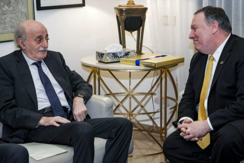 US Secretary of State Mike Pompeo (R) meets with Lebanese Druze leader Walid Jumblatt at the US ambassador's residence at the embassy in Aaoukar, north of the Lebanese capital Beirut, on 22 March 2019. [JIM YOUNG/AFP via Getty Images]