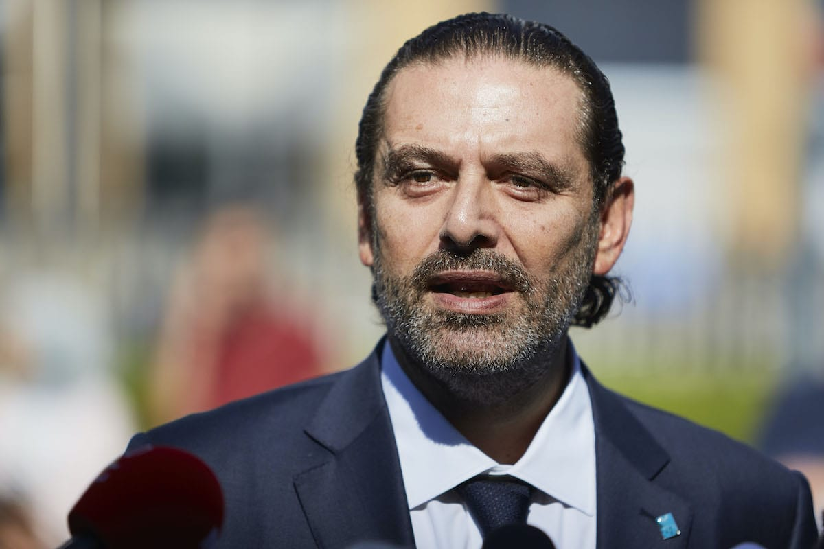 Former Prime Minister Saad Hariri gives a statement to the press outside the Lebanon Tribunal on 18 August 2020 in The Hague, Netherlands. [Pierre Crom/Getty Images]