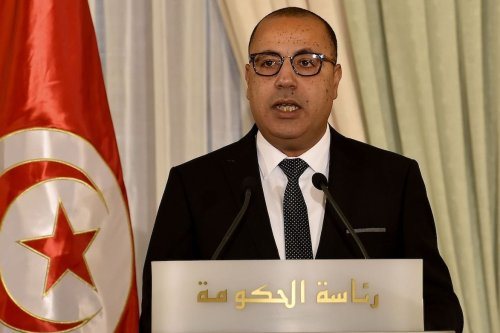Tunisia's new Prime Minister Hichem Mechichi speaks during a government handover ceremony in Carthage on the eastern outskirts of the capital Tunis on 3 September 2020. [FETHI BELAID/AFP via Getty Images]