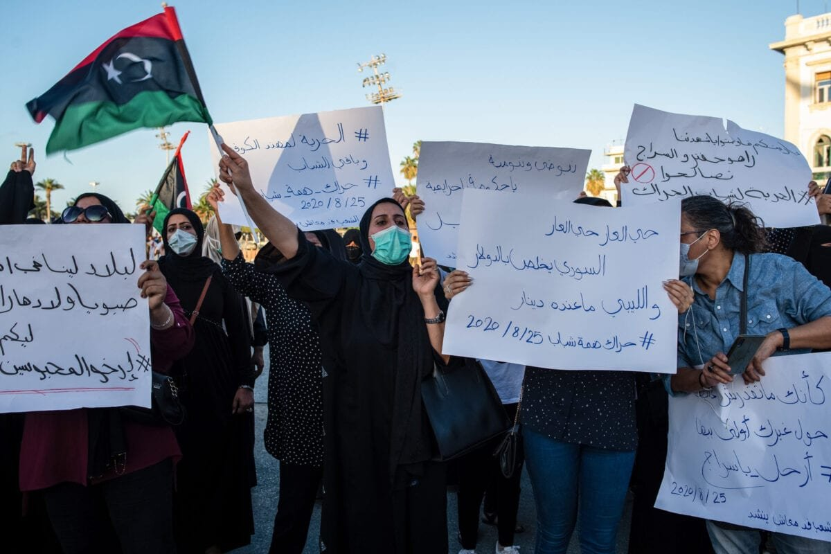 A group of women protest against corruption and poor living conditions in Martyr's Square on August 25, 2020 in Tripoli, Libya [Nada Harib/Getty Images]