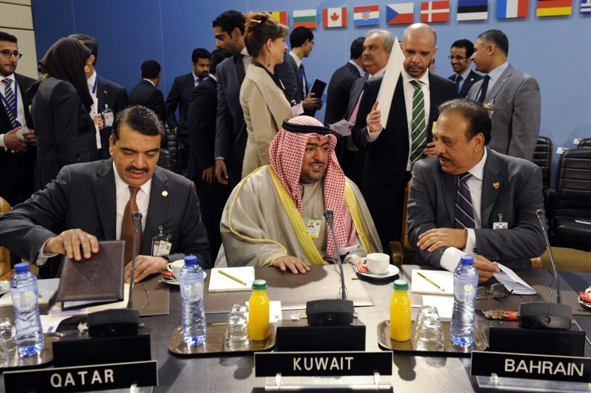 (From L) Qatar's Deptuy Foreign Minister Mohamed Bin Abdullah Al-Rumaihi, Kuwait's Sheikh Thamer Ali Al-Sabah, President of National Security Bureau, and Bahrain Undersecretary for regional and GCC Affairs Hamad Ahmed Al-Amer attend the second day of a Foreign Affairs session at the NATO Headquarters in Brussels on April 2, 2014 in Brussels [JOHN THYS/AFP via Getty Images]