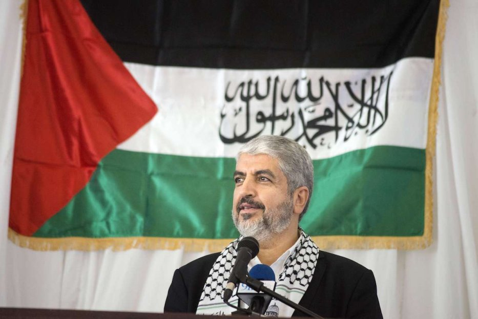 Khaled Meshaal, exiled leader of the Islamic Palestinian organization Hamas, addresses a rally in his honour on 21 October 2015, in Cape Town. [RODGER BOSCH/AFP via Getty Images]