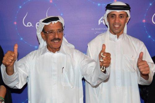 Khalaf Ahmad al-Habtoor (L), Chairman of the al-Habtoor Group, and Mohammed al-Habtoor, investor and the Vice-Chairman and CEO of the al-Habtoor Group, attending the World Premiere of La Perle in Dubai, on 13 September 2017 [GIUSEPPE CACACE/AFP via Getty Images]